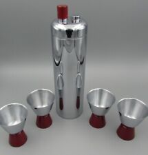 Vintage Deco Chrome Revere ZEPHYR Cocktail Shaker & Cups - RED