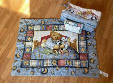 Vintage Blue Jean Teddy Bear ~ Nursery Bedding Comforter Pillow Bumper Pad~