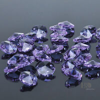 50PCS Light Purple 2 Holes Crystal Glass Octagon Prisms Beads Parts Craft 14mm