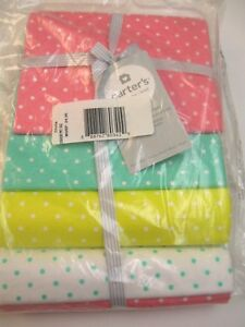 Carter's Baby Girls 4 Pack Flannel Receiving Blankets Polka Dots 40x30 New
