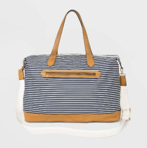Women's Striped Canvas Weekender Bag - A New Day - Navy Stripe - S* P16