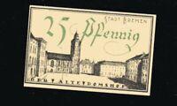 Notgeld 25 Pf Stadt BREMEN Finanzdeputation numeriert 1921