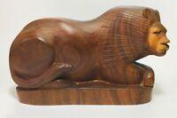 Mid Century Modern Modernist Danish Hand Carved Teak Wood Lion Sculpture Carving