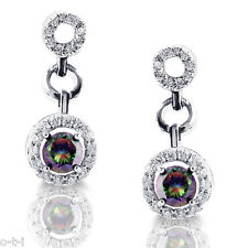 Halo Mystic Rainbow Topaz Dangle Earrings - Genuine .925 Sterling Silver