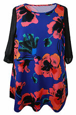 Evans Hip Length 3/4 Sleeve Floral Tops & Shirts for Women