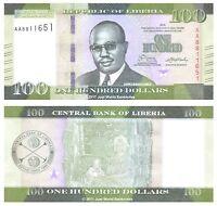 Liberia 100 Dollars 2016 First Prefix 'AA'  P-New  New Design  Banknotes  UNC