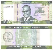 Liberia 100 dólares 2016 primera prefijo 'AA' P-Nuevo Nuevo Diseño Billetes Unc