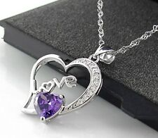 1CT Amethyst Love Necklace S925 Sterling Silver US shipping For Her/Mom gift0066