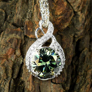 Anniversary Gift 6.11 Ct Green Diamond Solitaire Silver Pendant With Accents