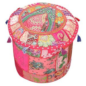 Indian Ottoman Pouffe Cover Pink Furniture Patchwork Embroidered Round 16 Inch