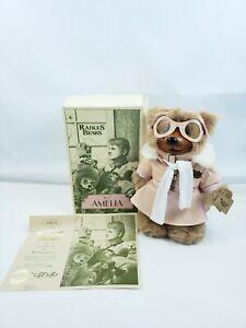 A Robert Rikers Original Bears Amelia Wood Face Feet Aviator Flying High Bear