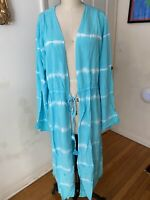 Forever 21 Plus Size Duster Long Coverup Tie Dye Blue NEW NWT 3X