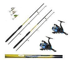 2 x 6FT Sportstar Spinning Fishing Rods and Star Reels Lures trout,sea fishing