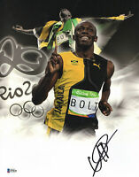 WOW L@@K USAIN BOLT SIGNED 11X14 PHOTO AUTHENTIC AUTOGRAPH BECKETT BAS COA 42