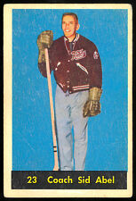 1960 61 PARKHURST HOCKEY 23 COACH SID ABEL VG-EX DETROIT RED WINGS FREE SHIP USA