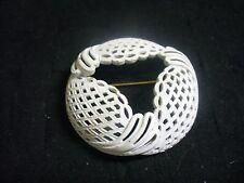 Vintage Monet White Enameled Goldtone Metal Filagree Wreath Brooch Pin
