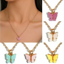 Fashion Sweet Acrylic Butterfly Pendant Necklace Clavicle Chain Women Party Gift
