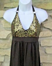 Bra Tops Petite Halter Dress Size XS Black Gold Sequin Bust Polyester Spandex