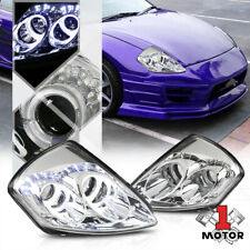 Chrome Dual Halo [ANGEL EYE]Projector Headlight LED DRL for 00-05 MIT Eclipse 3G
