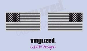 "2x 4""x2.25"" American Flag Sticker Vinyl Decal mirrored reverse gray Military USA"