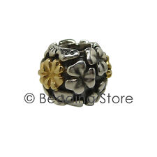 NEW Pandora Lucky Clover Two Tone Charm Silver ALE 14k 14ct Gold Genuine 790387
