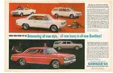 1964 AMC RAMBLER AMERICAN / CLASSIC / AMBASSADOR ~ ORIGINAL 2-PAGE PRINT AD