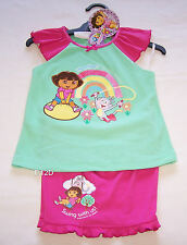Dora The Explorer Girls Green Pink Embroidered Pyjama Set Size 4 New