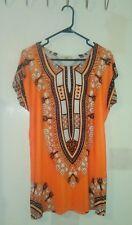 Long Blouse-Free Size-Orange, Black, White-Geometric Africa Print-Brand New