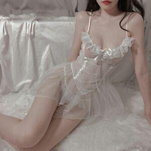 Sexy Women's Lolita Mini Dress Lace Camisole Lingerie Lace Up Uniform Underwear