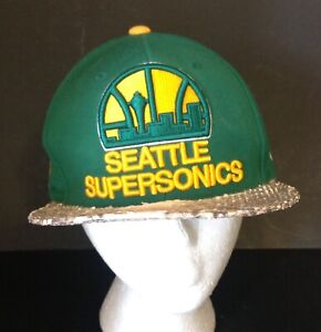 Seattle Supersonics Mitchell Ness Strapback Hat 3-D Spellout Faux Snakeskin Bill