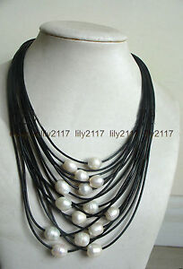 AAA 11-12mm Natural White Freshwater Pearl Multi-Strand Black Leather Necklace