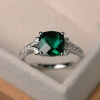 925 Sterling Silver Natural Certified Emerald 7 Ct Engagement Ring Gift For Her