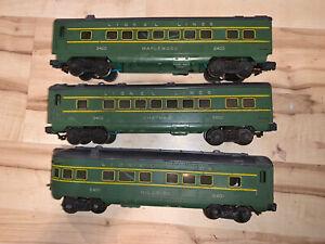 Lionel Trains Postwar 2400, 2401, 2402 Green Postwar Passenger Cars, C-5.