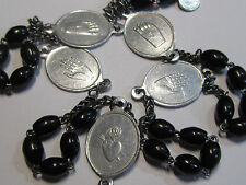 † HARD TO FIND VINTAGE FIVE WOUNDS / HOLY BLOOD ROSARY COCOA CHAPLET WITH TAG †