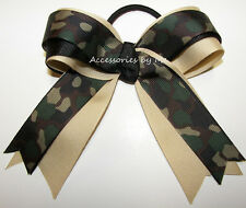Camouflage Ponytail Holder Bow Green Black Camo Cheer Softball Soccer USA Army