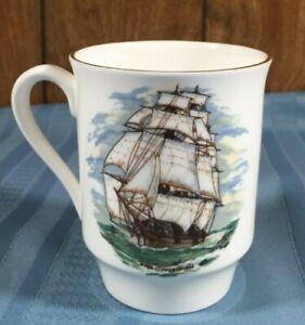 Royal Windsor Fine Bone China Coffee Mug Ship Motif Vintage Made In England