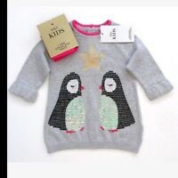 BNWT M&S Baby Girls Penguin Star Grey Jumper Dress & Pink Tights Set 3-6 months