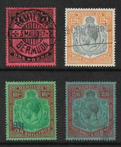 BERMUDA  SELECTION OF GV HIGH VALUES INC TOP 3 VALUES USED CAT £1275 AS POSTAL