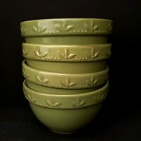 Signature Sorrento Oregano Green 4 Cereal Bowls Embossed Leaves Fast Shipping