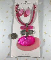 "Large Fancy Geometric Pendant Pink Corded 15"" Adjustable Necklace & Earring Set"