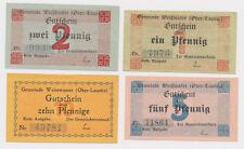 WEISSWASSER  1 Pf, + 2 Pf, + 5 Pf und 10 Pfennig  Notgeld  aus Schlesien ( 621