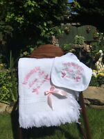 Personalised Christening Shawl And Cotton Bib Baptism Blanket