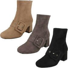 Ladies Black/Taupe Mid Calf Heeled Ankle Boots F50748