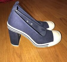 CHINESE LAUNDRY Blue Canvas Sneakers HIP HOP High Heels Womens Shoes Sz 6.5 #