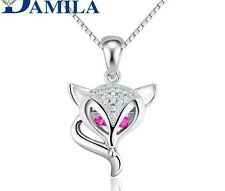 Swarovski Elements Cubic Zirconia Fox Pendant Sterling Silver W Chain Gift A2