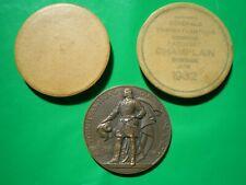 """Médaille dans sa boîte d'origine Paquebot """"Champlain"""" 1932 / Delamarre C.G.T. TB"""