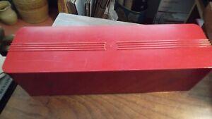 Vintage red plastic ATBCO box Art Deco streamline Bakelite?
