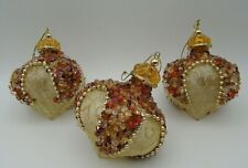 Gold & Orange Beads Sequins Metallic Gold Thread Christmas Ornaments Set of 3