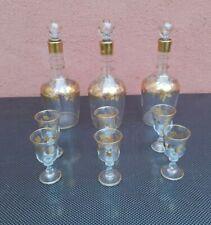 Ensemble de 3 flacon et 6 verre pour cave a liqueur cristal et dorure a l'or