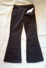 Lee Juniors Riveted Button Fly Black Bell Bottom 100% Cotton Jeans Size 9 Medium